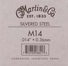 Martin M14 Plain Steel Guitar String - .014