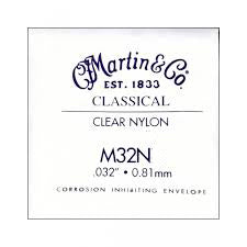 "Martin M32N B-2nd Clear Nylon Plain End Classical single string. 032"" - 0.81mm"