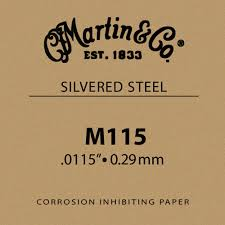 Martin M115 Plain Steel Guitar String - .0115