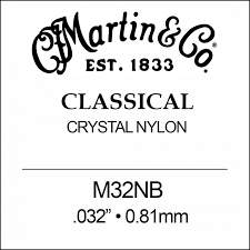 "Martin M32NB B-2nd Clear Nylon Ball End Classical single string. 032"" - 0.81mm"