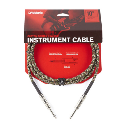 D'Addario Braided Instrument Cable, 10' - Camouflage, PW-BG-10CF