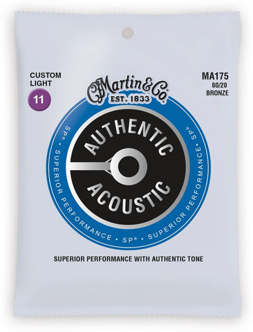 Martin MA175 SP 80/20 Bronze Authentic Acoustic Guitar Strings Custom Light 11-52