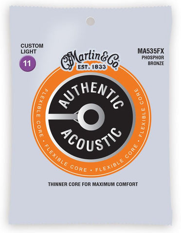 Martin Flexible Core Phosphor Bronze Authentic Acoustic Guitar Strings MA535FX Custom Light 11-52