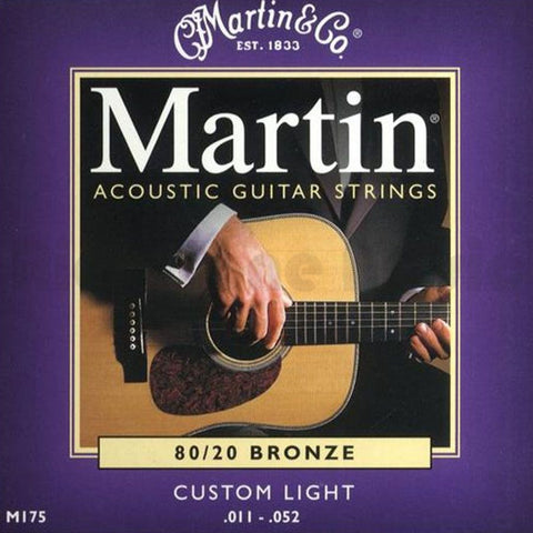 MARTIN M175 Custom Light 80/20 Acoustic Strings, 11-52