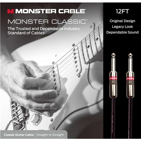 Monster Cable 12' Classic Guitar Cable, Straight to Straight, CLAS-1-12WW