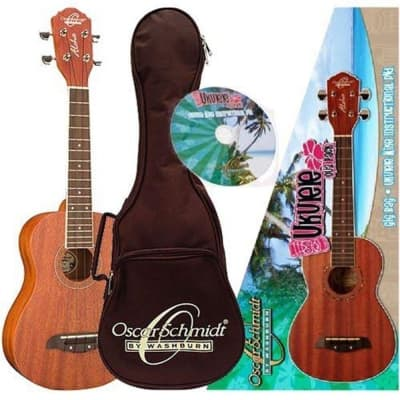 Oscar Schmidt OU2PAK Concert Ukulele with Gig Bag and DVD