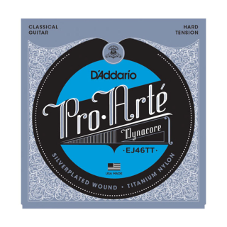 D'Addario ProArte Dynacore Classical Guitar Strings, Titanium Trebles, Hard Tension EJ46TT