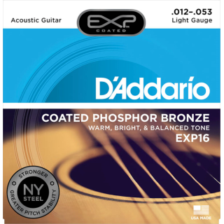 DAddario EXP16 Coated Phosphor Bronze Acoustic Guitar, Light, 12-53