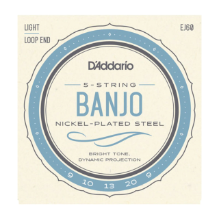 D'Addario EJ60 5-String Banjo Strings, Nickel, Light, 9-20 EJ60