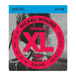 D'Addario Nickel Wound Electric Guitar Strings, Heavy, 12-54 with Plain Steel 3rd EXL145