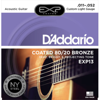 DAddario EXP13 Coated 80/20 Bronze Acoustic Guitar Strings Custom Light, 11-52