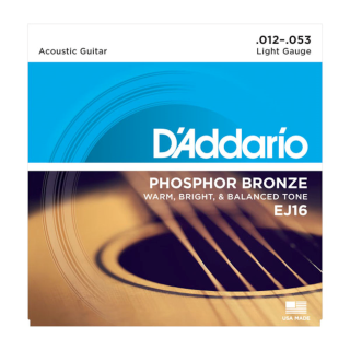DAddario EJ16 Phosphor Bronze Acoustic Guitar Strings, Light, 12-53