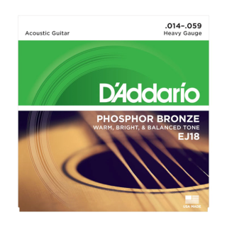DAddario EJ18 Phosphor Bronze Acoustic Guitar Strings, Heavy, 14-59
