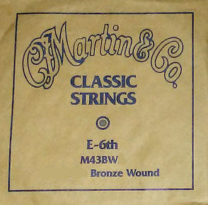 "Martin M43BW E-6th 80/20 Bronze Wound Plain End Classical single string. 043"" - 1.09mm"