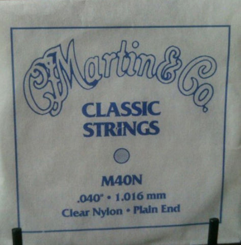 "Martin M40N G-3rd Clear Nylon Plain End Classical single string. 040"" - 1.02mm"