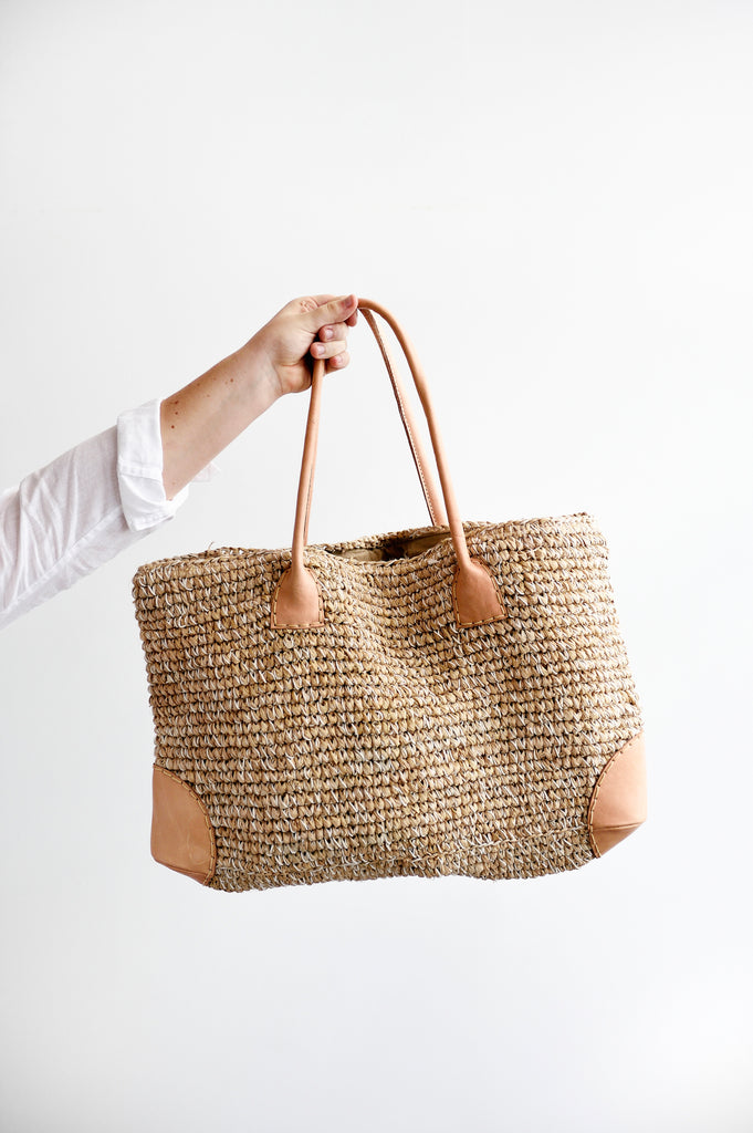 Seagrass and leather woven tote