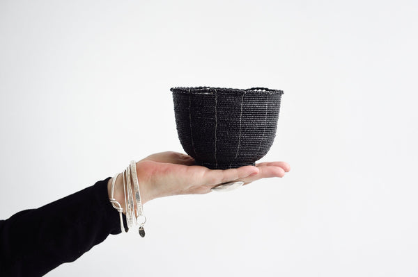 Small Beaded Basket black