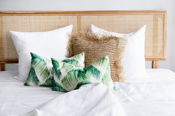Green Palm Frond Cushion - Rectangle