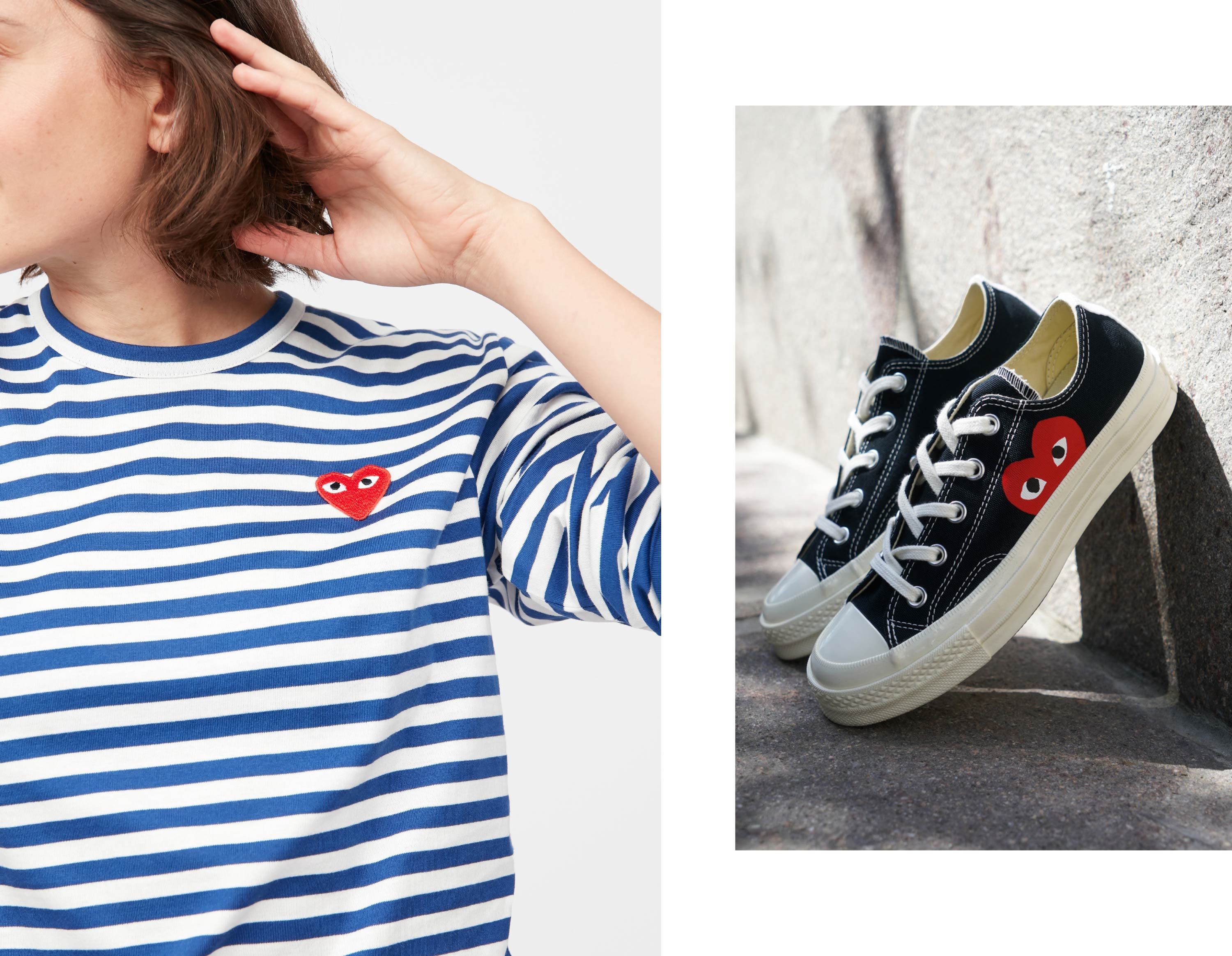 Comme PLAY striped Shirt and Comme PLAY x Converse Sneakers Black
