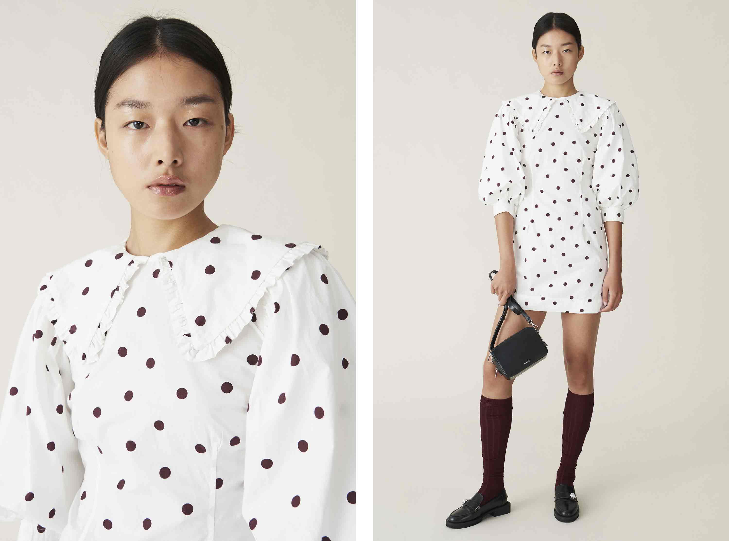 Printed Cotton Poplin Dot Mini Dress