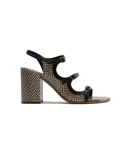 Leather Snake Print Buckle Heel