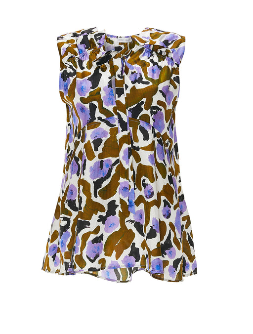 Turan Printed Sleeveless Gathered Top