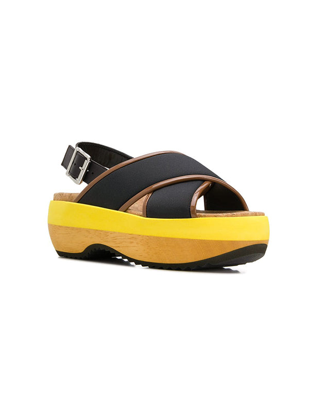 Wood and Neoprene Platform Wedges