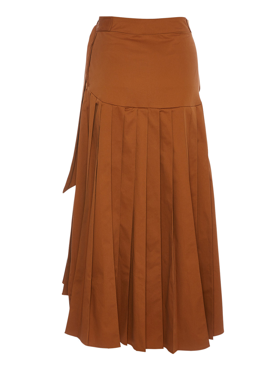 Belted Pleated A-Line Skirt