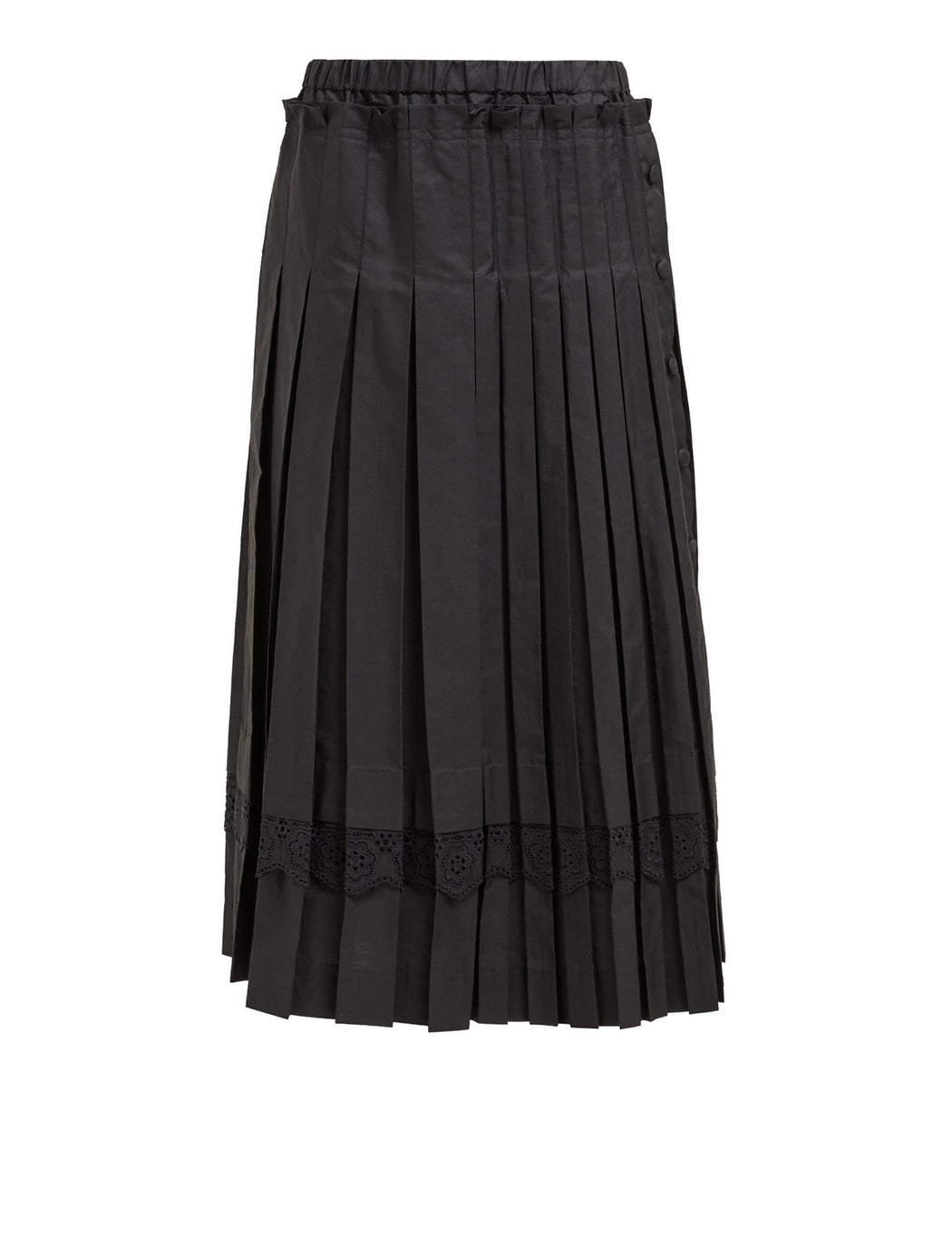 Pleated Skirt w/ Broderie Anglais Trim