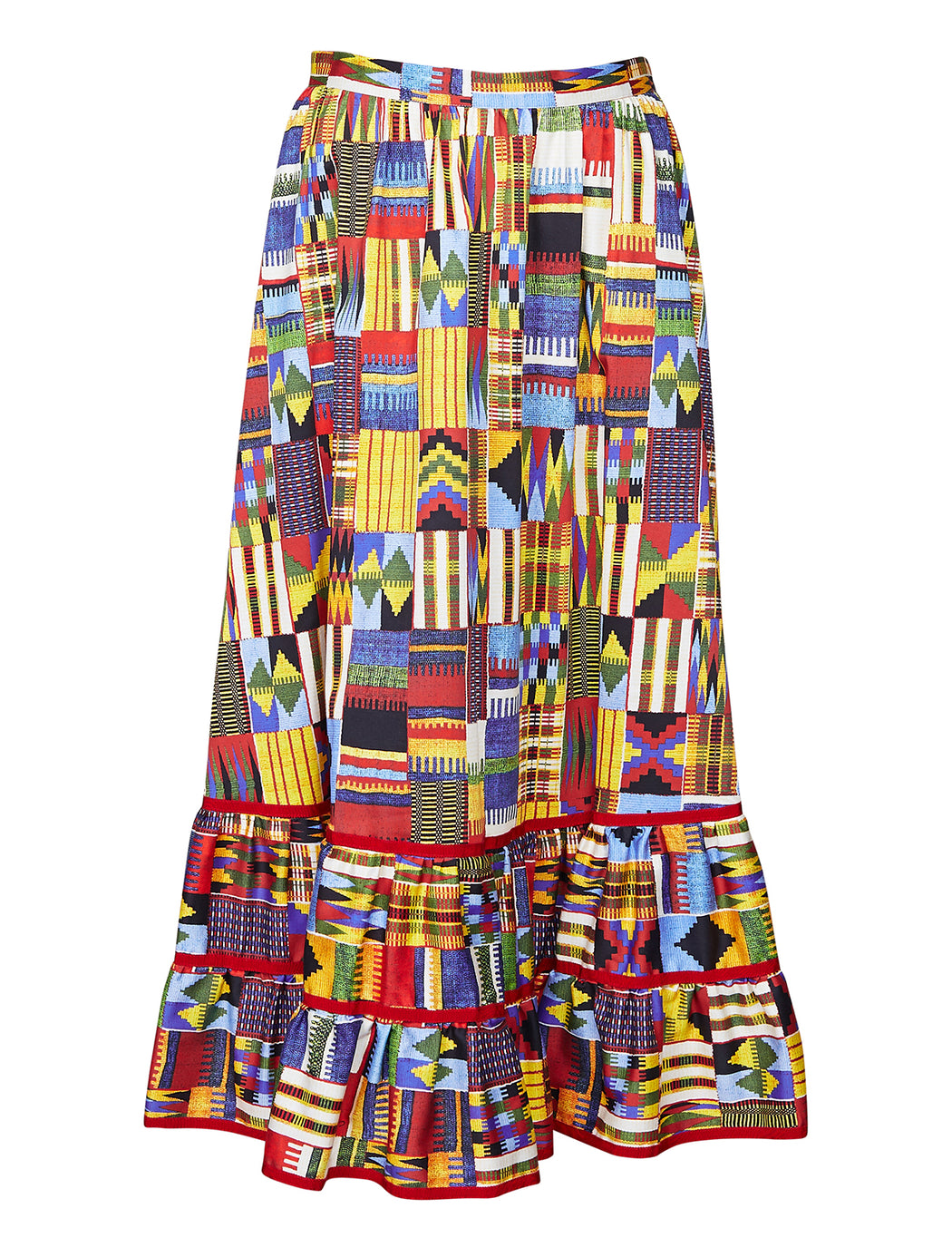 Stella Jean Ikat Gathered Hem Skirt