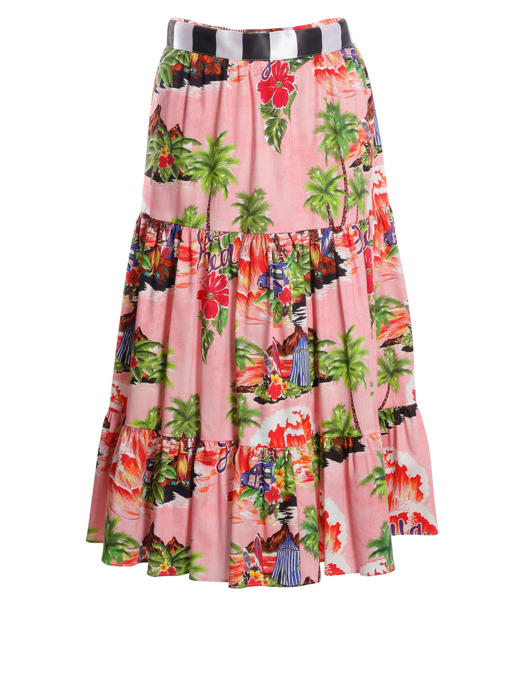Hawaiian Print Midi Skirt
