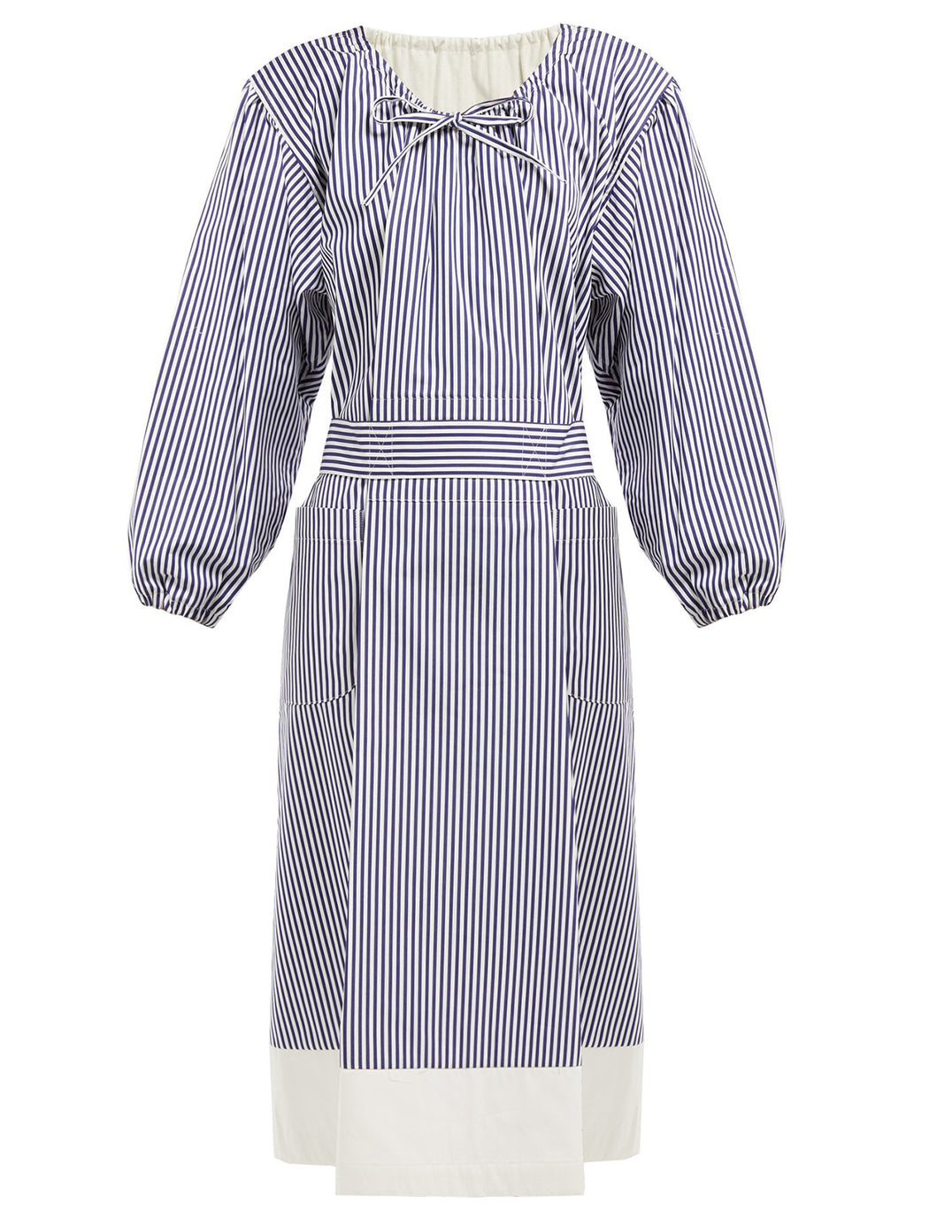 Stripe Gathered Neck Dress