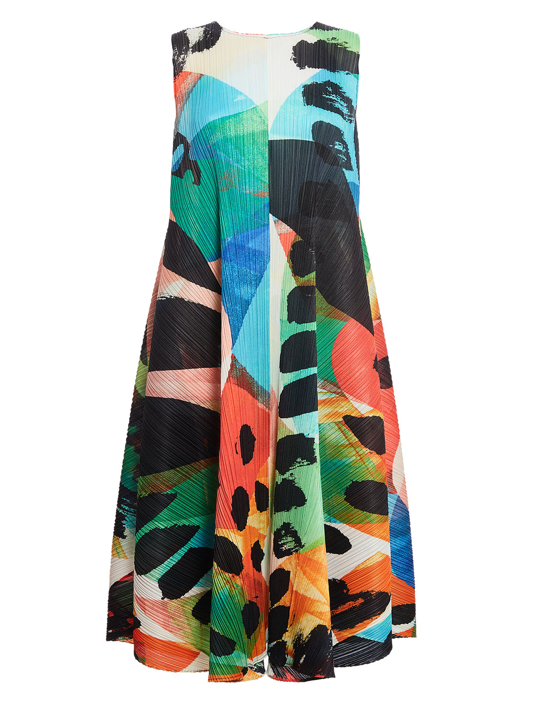 Pleats Please By Issey Miyake Abstract Print Maxi
