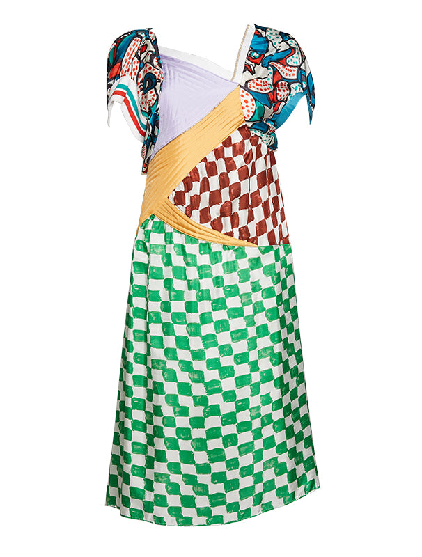 Tsumori Chisato Silk Patchwork Dress