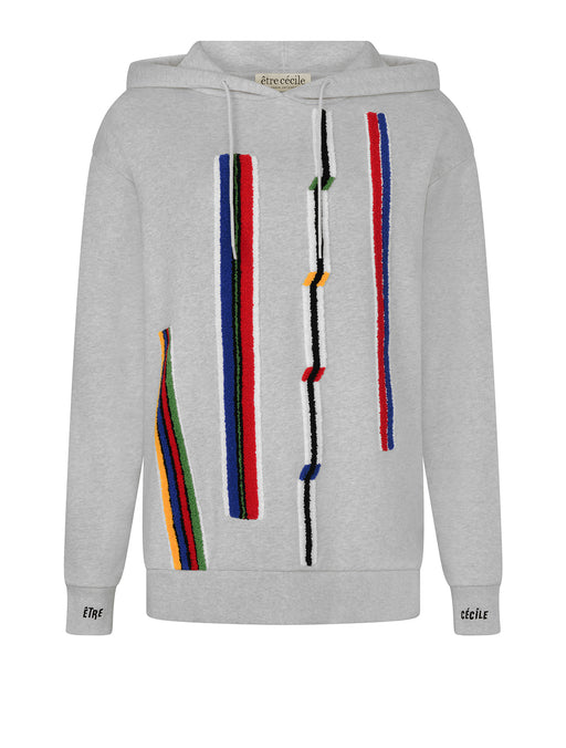 Chenille Stripes Oversized Hoodie