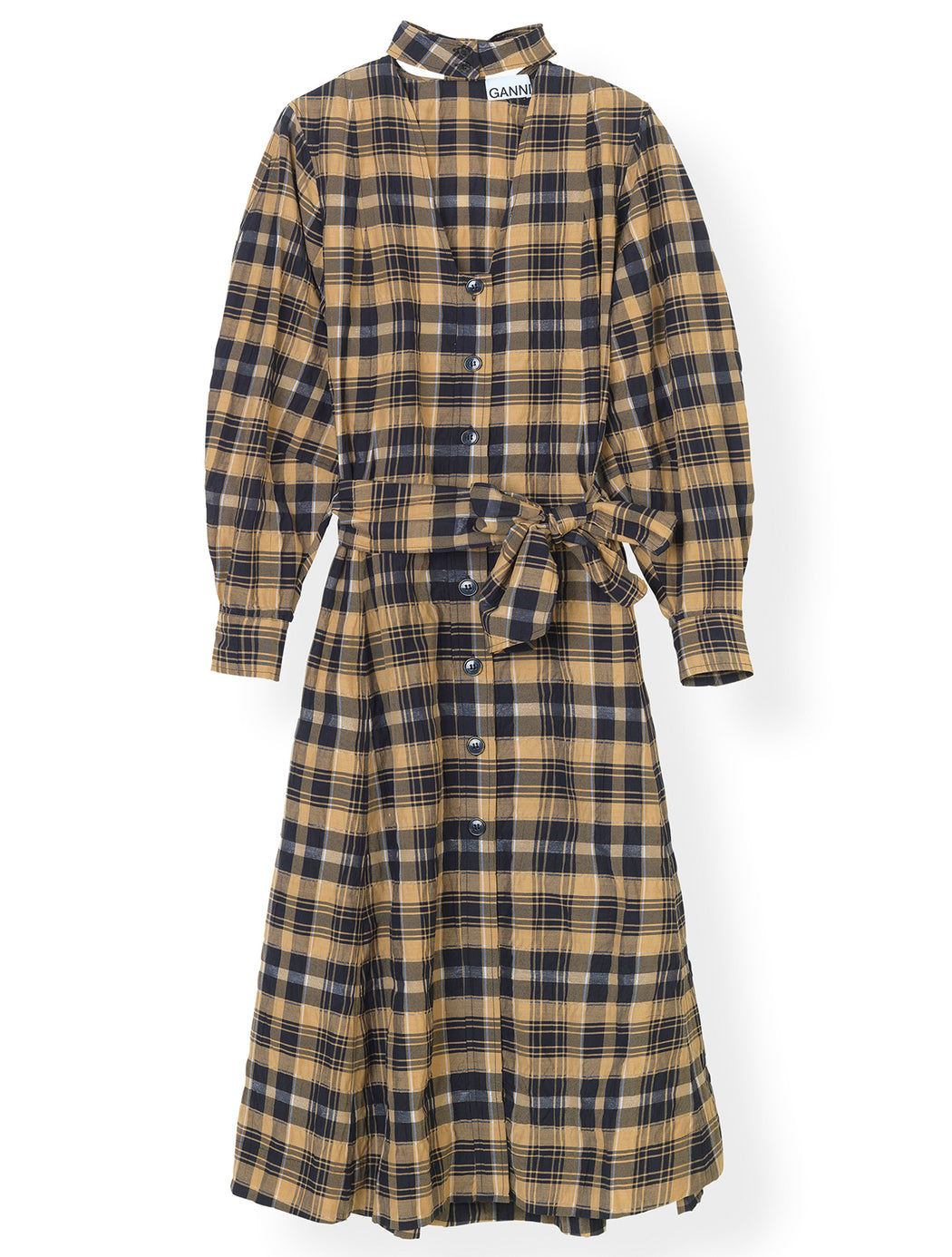 Seersucker Check Shirt Dress