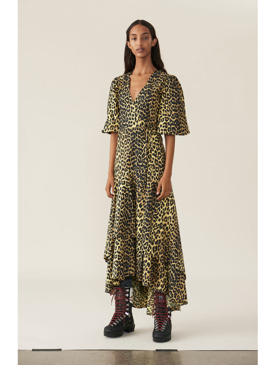 Ganni Printed Cotton Wrap Dress