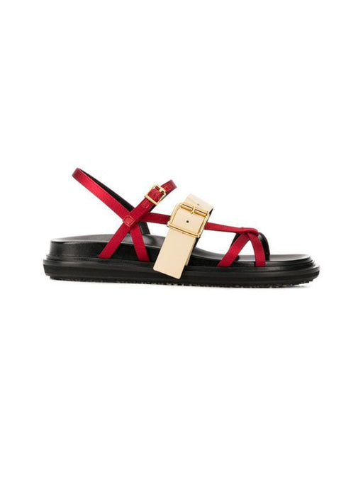 Marni Leather Trimmed Fusbett Sandal