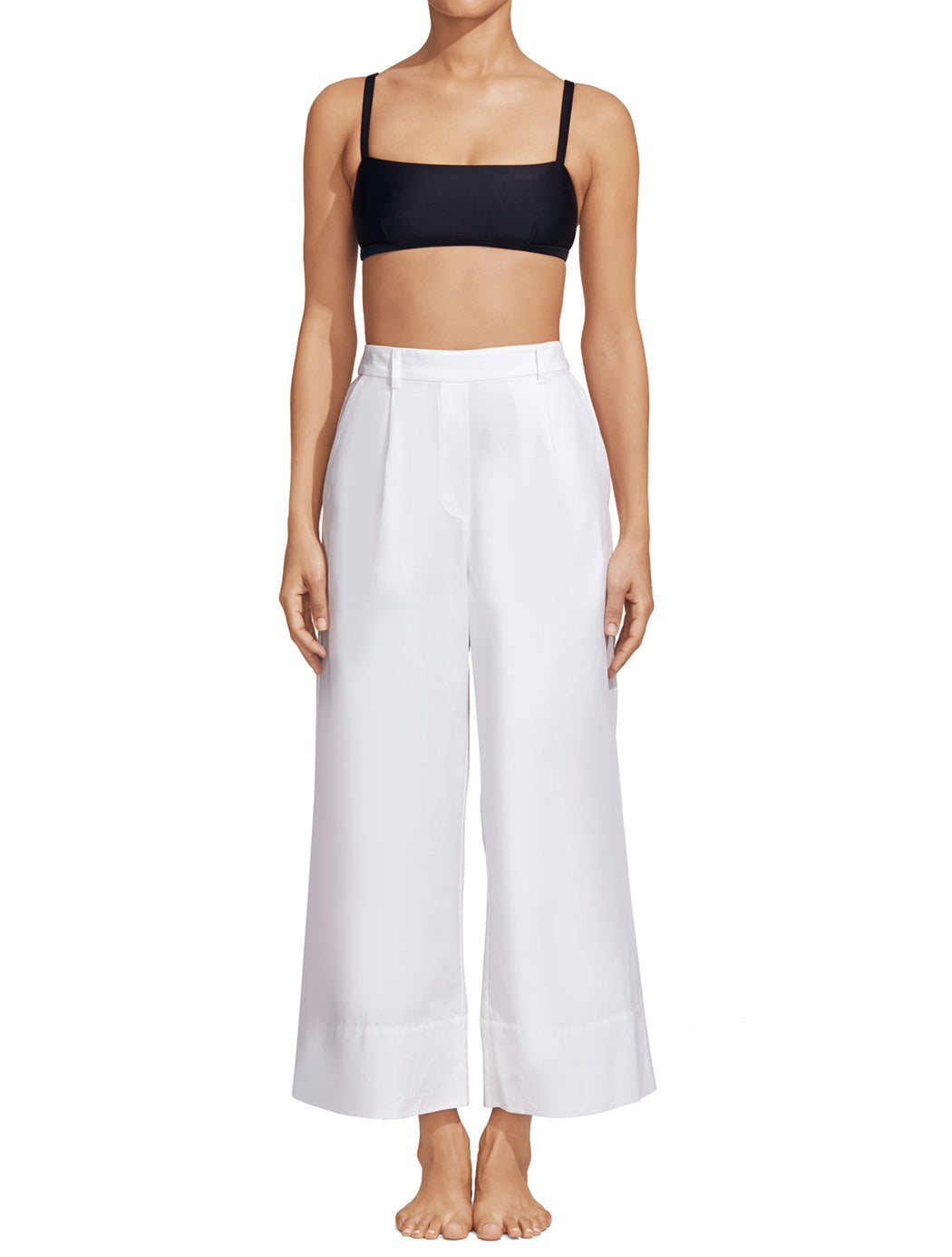 Matteau White Cropped Summer Trouser