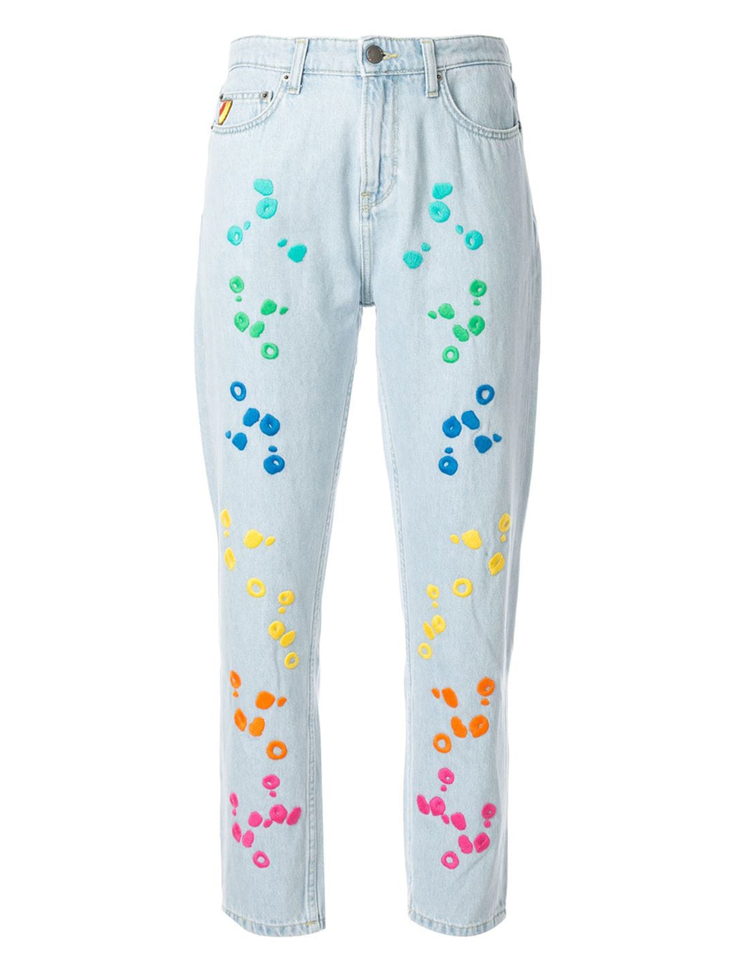 Dot Embroidered Jeans