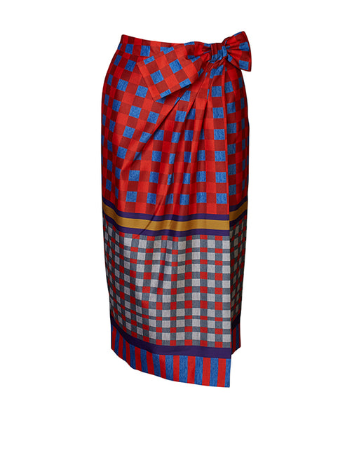 Stella Jean Check Wrap Skirt
