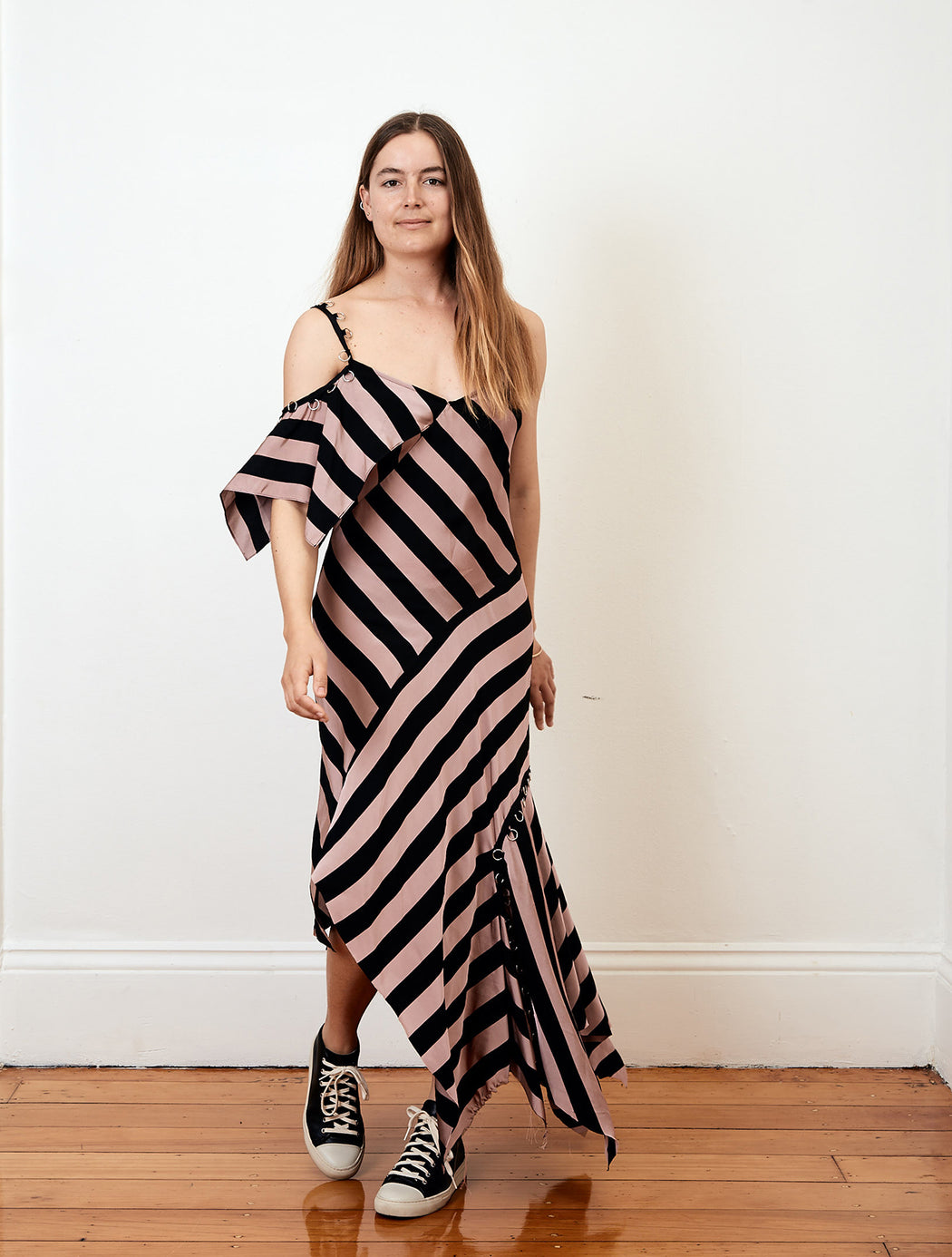 Marques Almeida Striped Asymmetric Frill Dress