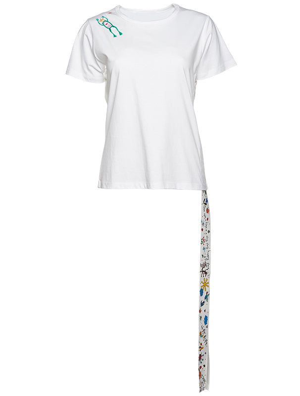 Mira Mikati Embroidered Side Ribbon T-Shirt