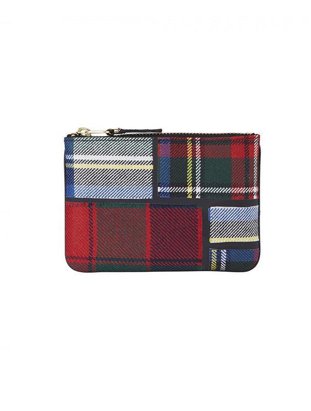 Comme Des Garcons Red Tartan Small Zip Pouch