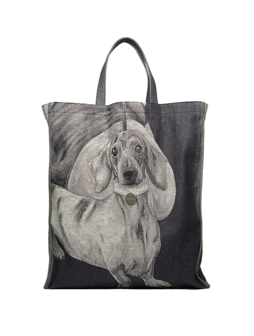 Daschund Denim Tote Bag