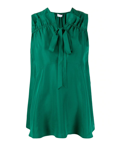 Turan Sleeveless Gathered Top - Green