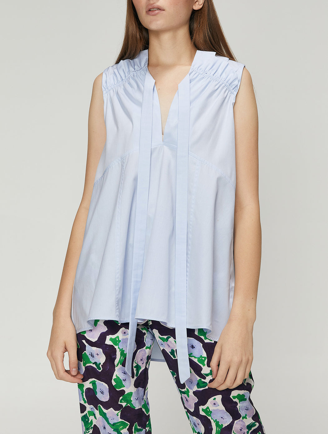 Turan Sleeveless Gathered Top - Light Blue