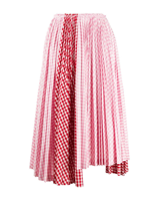 Gingham Pleat Skirt Red Back