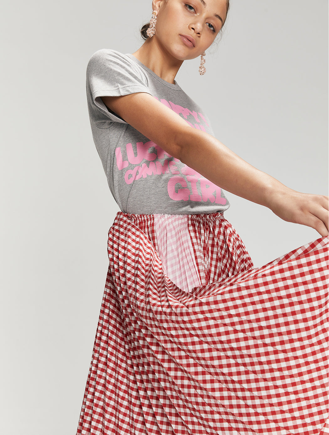 Gingham Pleat Skirt Pink Back