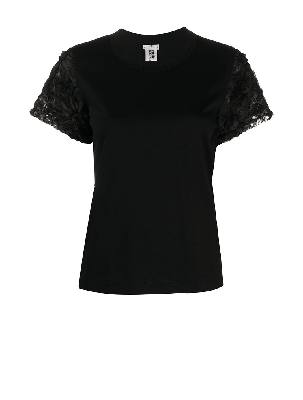 Embroidered Organza Sleeve T-Shirt